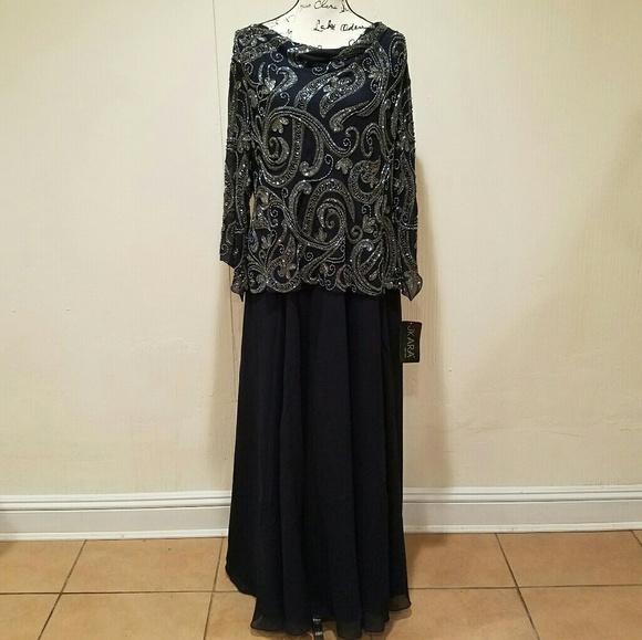 J Kara Dresses Nwt Navy Beaded Plus Size Gown Poshmark
